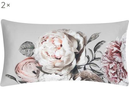 Obliečka na vankúš z bavlneného saténu s kvetinovou potlačou Blossom, 2 ks