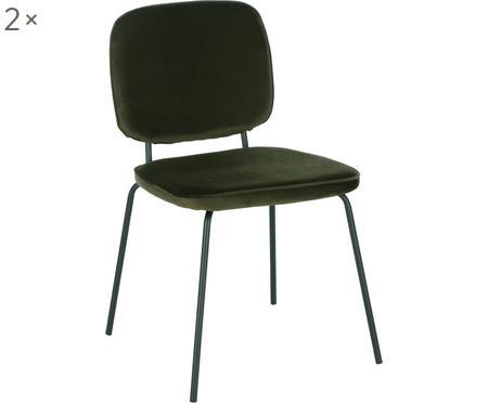 Zamatová čalúnená stolička Jasper, 2 ks
