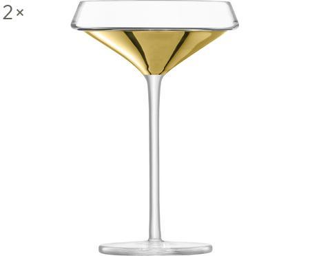 Ručne fúkaný pohár na šampanské Space so zlatým detailom, 2 ks