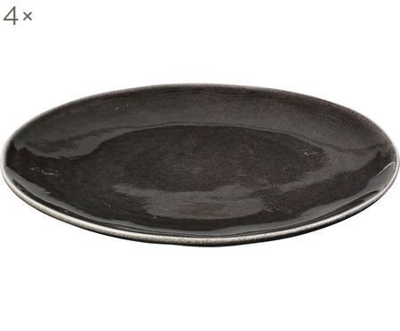 Ručne vyrobený plytký tanier z kameniny Nordic Coal, 4 ks