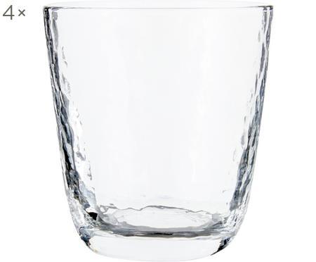 Ručne fúkaný pohár na vodu s nerovným povrchom Hammered, 4 ks
