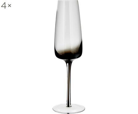 Súprava ručne fúkaných pohárov na šampanské Smoke, 4 diely