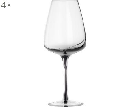 Súprava ručne fúkaných pohárov na biele víno Smoke, 4 diely