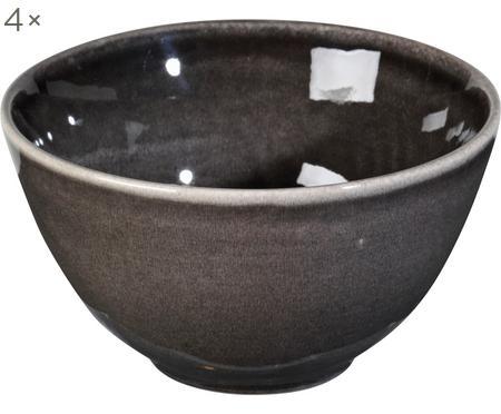 Ručne vyrobená miska z kameniny Nordic Coal, 4 ks