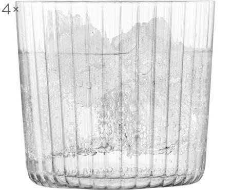 Ručne fúkané poháre na vodu s drážkovanou štruktúrou Gio, 4 diely