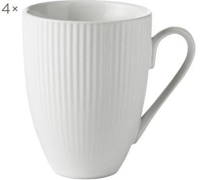 Biela kávová šálka s drážkovou štruktúrou Groove, 4 ks
