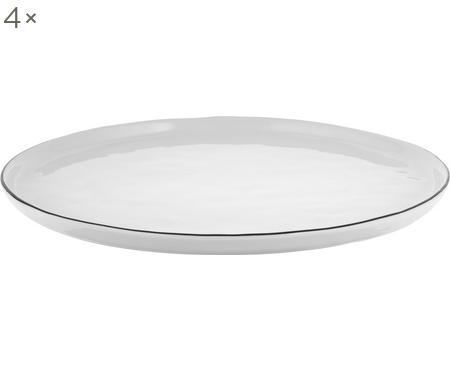Ručne vyrobený plytký tanier s čiernym okrajom Salt, 4 ks