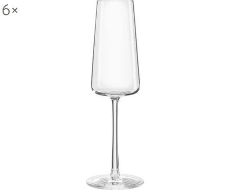 Krištáľové poháre na sekt v tvare kužeľa Power, 6 kusov