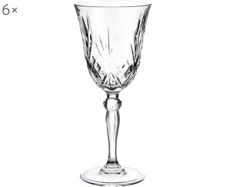 Krištáľový pohár na víno s reliéfnym vzorom Melodia, 6 ks