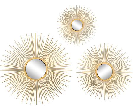 Súprava nástenných zrkadiel Sun so zlatým rámom, 3 diely