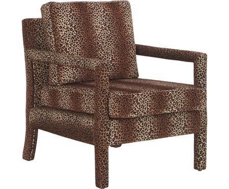 Zamatové kreslo s hnedým leopardím vzorom Claudette