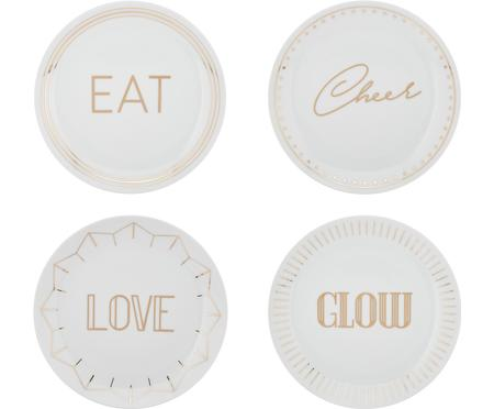 Súprava porcelánových tanierov so zlatým nápisom Glimmer, 4diely