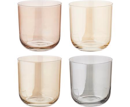 Súprava farebných pohárov na vodu Polka, 4 diely