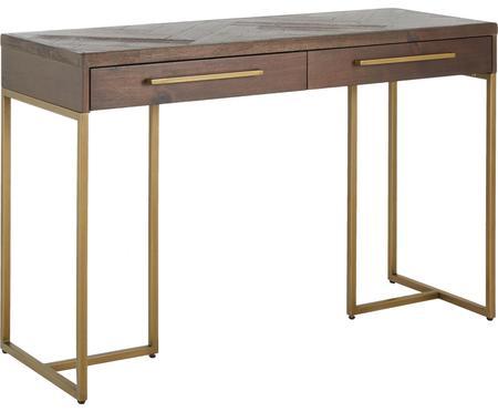 Konzolový stolík so vzorom rybej kosti Class s dyhou z akáciového dreva