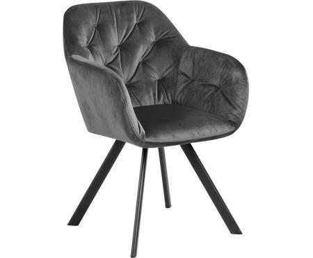 Otočná zamatová stolička s opierkami Lucie