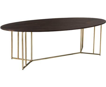 Oválny jedálenský stôl z masívu v hnedej farbe Luca