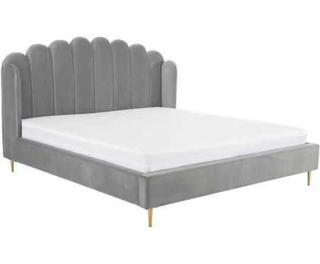 Zamatová čalúnená posteľ Glamour, sivá