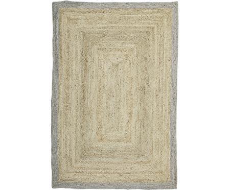 Ručne tkaný jutový koberec  so sivým okrajom Shanta