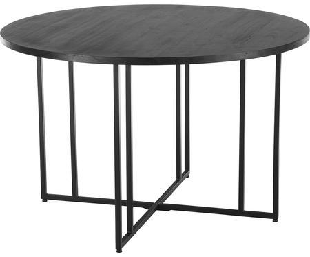Okrúhly jedálenský stôl z masívu v čiernej farbe Luca