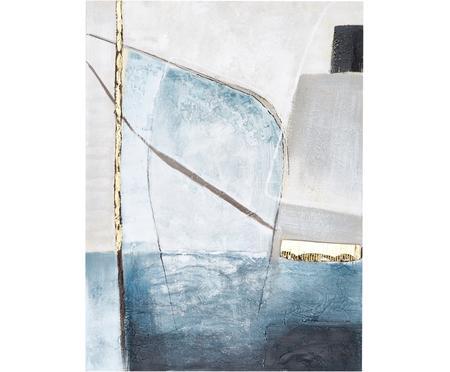 Ručne maľované plátno Golden Blue II