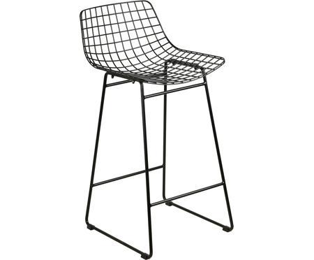 Kovová barová stolička v čiernej farbe Wire