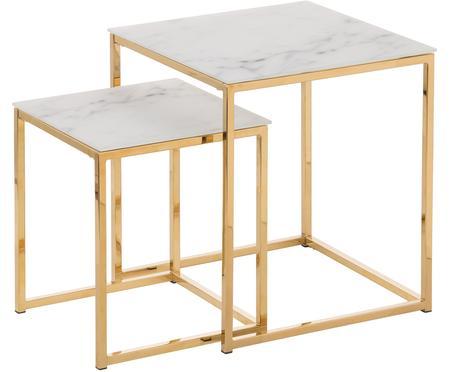 Súprava pomocných stolíkov s mramorovanou sklenenou doskou Aruba, 2 diely